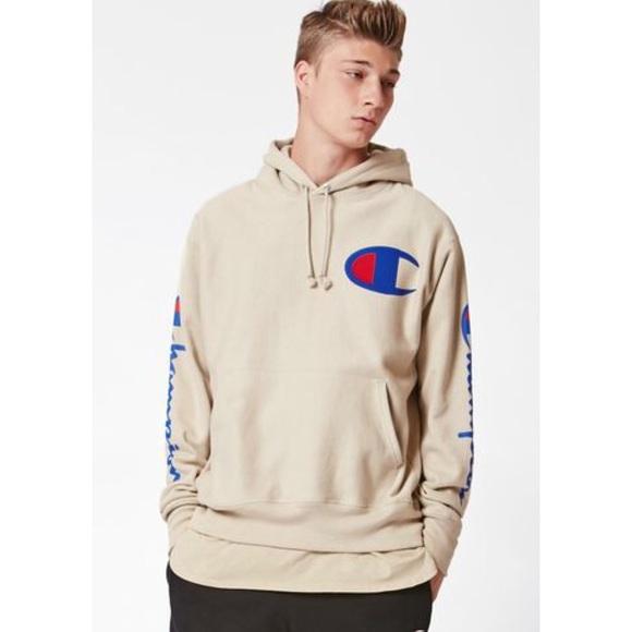 beige champion hoodie
